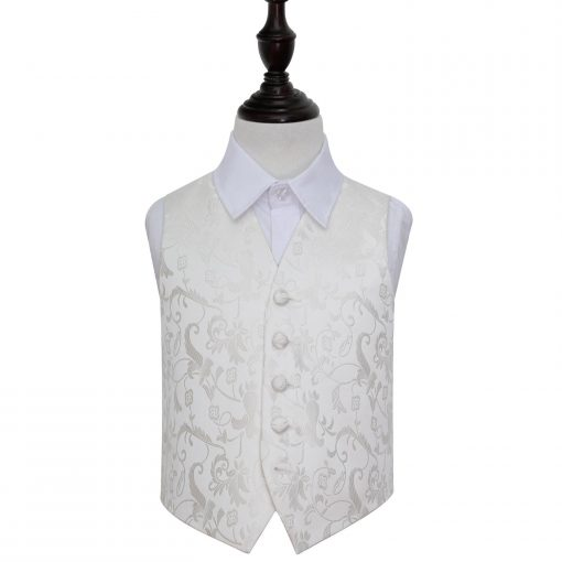 Ivory Floral Wedding Waistcoat for Boys