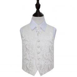 Ivory Floral Wedding Waistcoat & Cravat Set for Boys