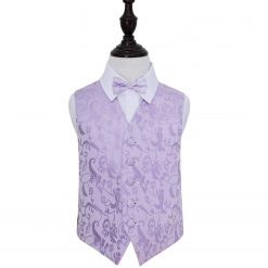 Lilac Floral Wedding Waistcoat & Bow Tie Set for Boys