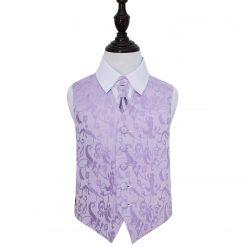 Lilac Floral Wedding Waistcoat & Cravat Set for Boys