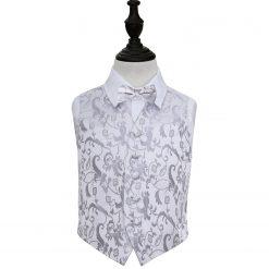 Silver Floral Wedding Waistcoat & Bow Tie Set for Boys