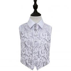 Silver Floral Wedding Waistcoat & Cravat Set for Boys