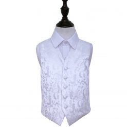 White Floral Wedding Waistcoat for Boys