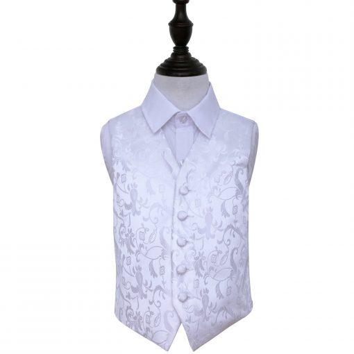 White Floral Wedding Waistcoat for Boys