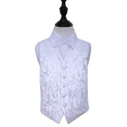 White Floral Wedding Waistcoat & Bow Tie Set for Boys