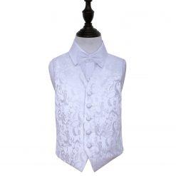 White Floral Wedding Waistcoat & Bow Tie Set for Boys