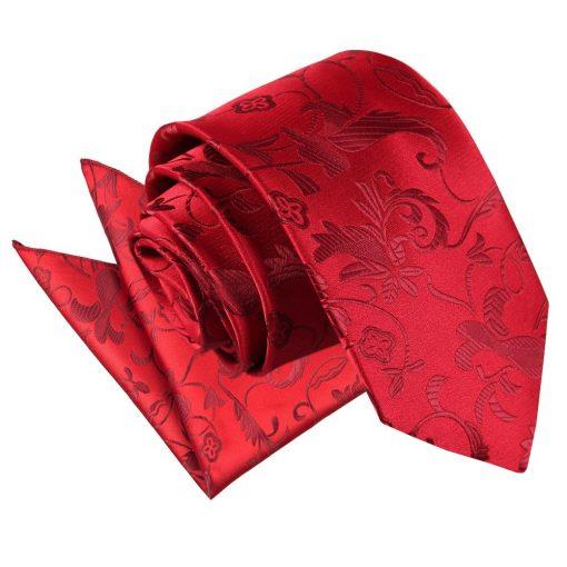 Burgundy Floral Tie & Pocket Square Set