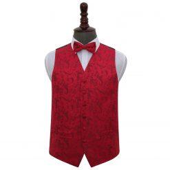 Burgundy Floral Wedding Waistcoat & Bow Tie Set
