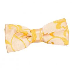 Gold Floral Pre-Tied Bow Tie for Boys
