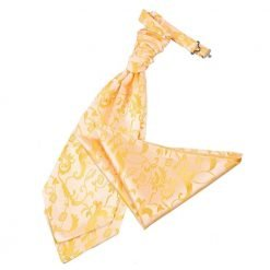 Gold Floral Wedding Cravat & Pocket Square Set