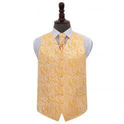 Gold Floral Wedding Waistcoat & Cravat Set