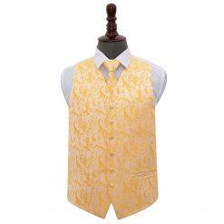 Gold Floral Wedding Waistcoat & Tie Set