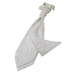 Ivory Floral Wedding Cravat & Pocket Square Set