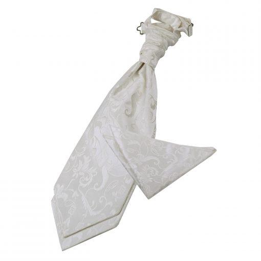Ivory Floral Wedding Cravat & Pocket Square Set