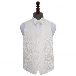 Ivory Floral Wedding Waistcoat & Bow Tie Set