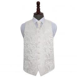 Ivory Floral Wedding Waistcoat & Cravat Set