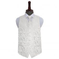 Ivory Floral Wedding Waistcoat & Tie Set