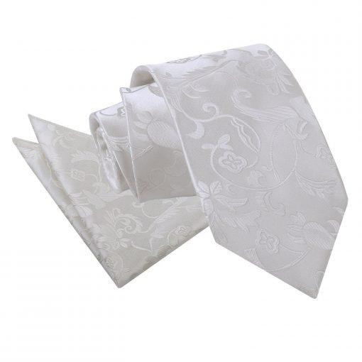 Ivory Floral Tie & Pocket Square Set