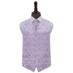 Lilac Floral Wedding Waistcoat & Cravat Set