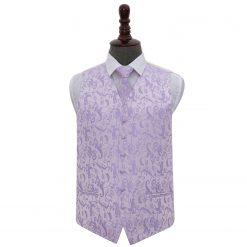 Lilac Floral Wedding Waistcoat & Tie Set