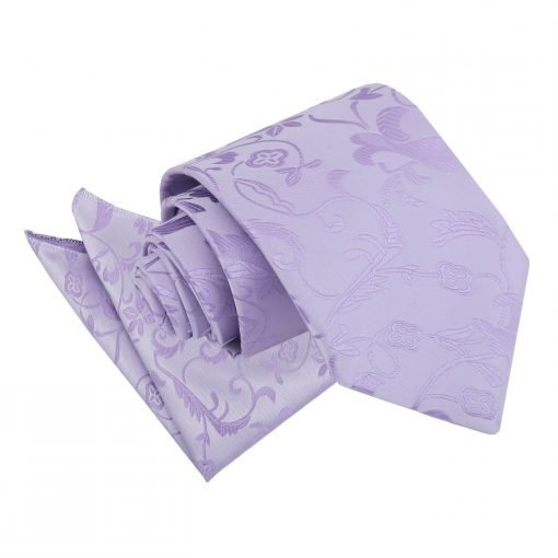 Lilac Floral Tie & Pocket Square Set