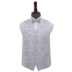 Silver Floral Wedding Waistcoat & Bow Tie Set
