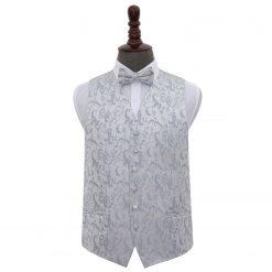 Silver Floral Wedding Waistcoat & Bow Tie Set