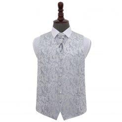 Silver Floral Wedding Waistcoat & Cravat Set