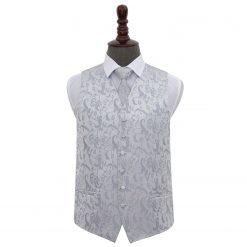 Silver Floral Wedding Waistcoat & Tie Set
