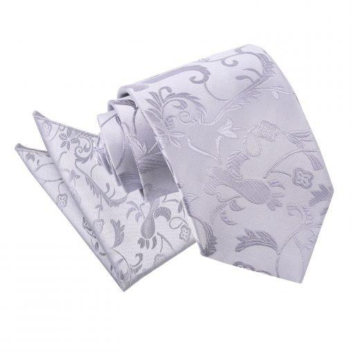 Silver Floral Tie & Pocket Square Set