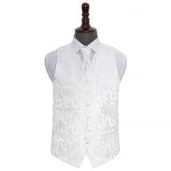 White Floral Wedding Waistcoat & Cravat Set
