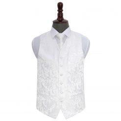 White Floral Wedding Waistcoat & Tie Set