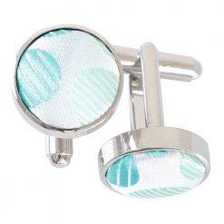 Aqua Blue Pastel Polka Dot Cufflinks