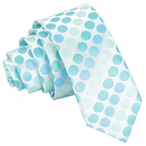 Aqua Blue Pastel Polka Dot Skinny Tie