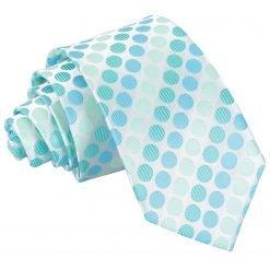 Aqua Blue Pastel Polka Dot Slim Tie