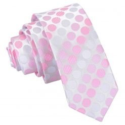 Aurora Pink Pastel Polka Dot Skinny Tie