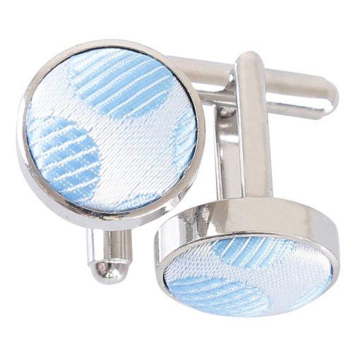 Azure Blue Pastel Polka Dot Cufflinks
