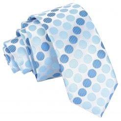 Azure Blue Pastel Polka Dot Skinny Tie