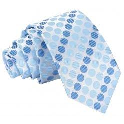 Azure Blue Pastel Polka Dot Slim Tie