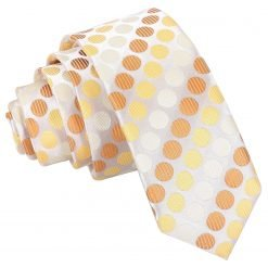 Golden Yellow Pastel Polka Dot Skinny Tie