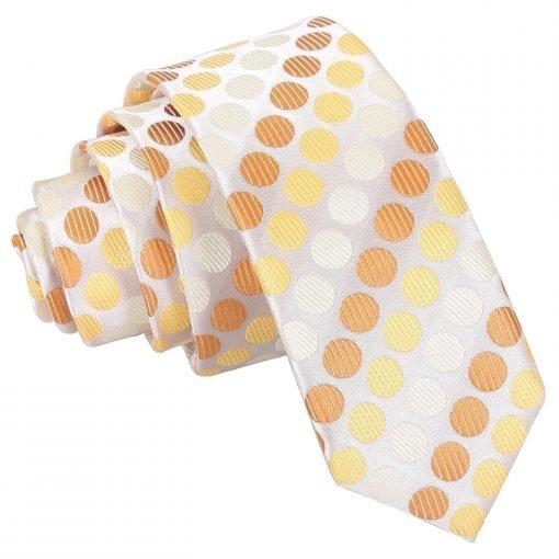 Golden Yellow Pastel Polka Dot Skinny Tie