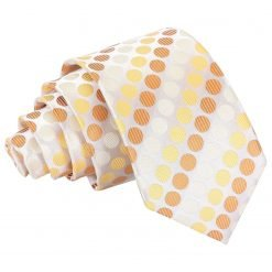 Golden Yellow Pastel Polka Dot Slim Tie