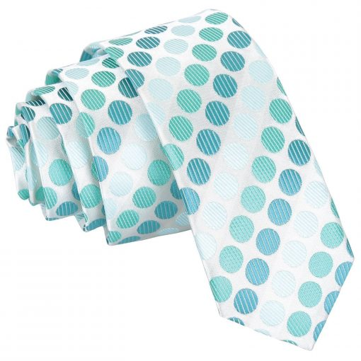 Turquoise Pastel Polka Dot Skinny Tie