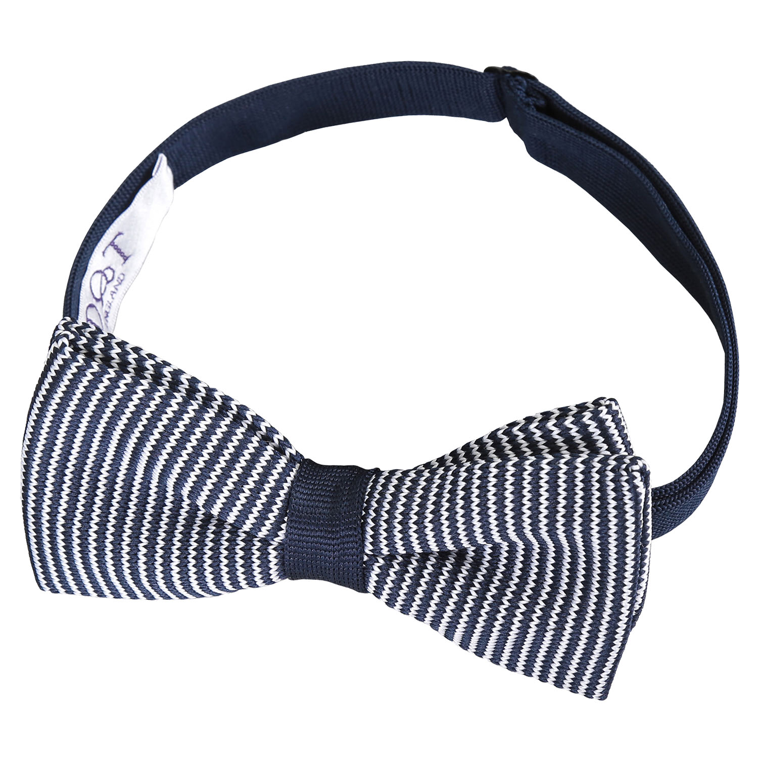 DQT Knit Knitted Thin Stripe Blue with Black White Mens Pre-Tied Bow Tie