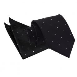 Black Pin Dot Tie & Pocket Square Set