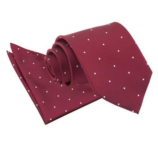 Burgundy Pin Dot Tie & Pocket Square Set