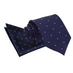 Navy Blue Pin Dot Tie & Pocket Square Set