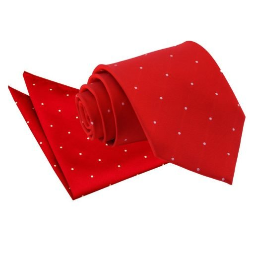 Dark Red Pin Dot Tie & Pocket Square Set