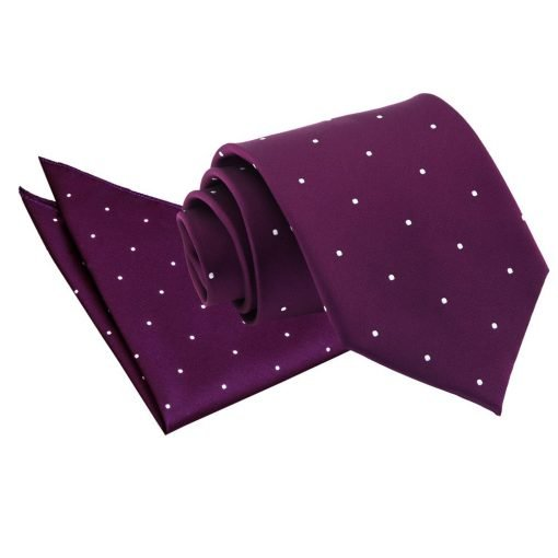 Purple Pin Dot Tie & Pocket Square Set
