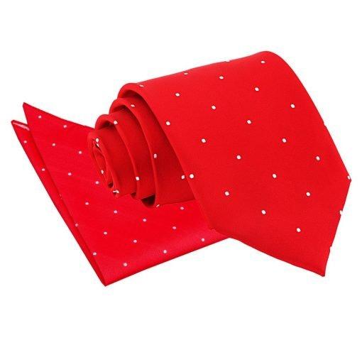Red Pin Dot Tie & Pocket Square Set